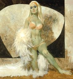 Robert McGinnis (born 1926) is known for his illustrations of over 1200 paperback book covers, and over 40 movie posters, including Breakfast at Tiffanys (hisfirst film poster assignment), Barbarella, and several James Bond films.' Taken from How to be a retronaut.