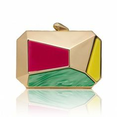 OSCAR | Oversized Minaudiere | Multi Gold |  The Oscar in Gold with Pink, Green and Yellow panelling is the larger version of our Pearce Minaudiere.  Spring 2014 #KOTUR #Clutch #Minaudiere #handbag