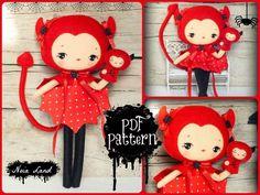 PDF. Devil girl with puppet.Plush Doll Pattern, Softie Pattern, Soft felt Toy Pattern.. $7.00, via Etsy.