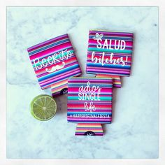 This hugger is absolutely perfect for your upcoming Cinco De Mayo parties or Mexican themed parties. This neoprene koozie is fully customizable. Makes a super cute gift or party favor too. There are so many fun sayings for any event! Choose any color or font for the saying. I am unable to change the Party Themes, Themed Parties, Glitter Vinyl, Cute Gifts, All The Colors, Best Quotes, Party Favors, Initials, Monogram
