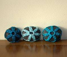 3 sea beach stone teal turquoise blue crochet lace by astash, $15.00