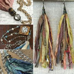 Fringe tassel necklace earrings ideas sari silk ribbon