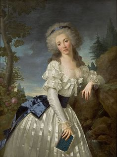 Antoine Vestier (1740–1824), Portrait of a Lady with a Book, Next to a River Source, ca 1785 Love the fabric in this Chemise