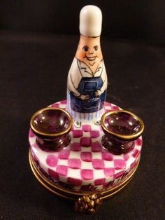 Limoges France  Peint Main CHEF TABLE WINE    Trinket Box NEW