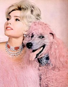 Zsa Zsa Gabor and her pink poodle