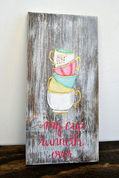 My Cup Runneth Over Rustic Wood Kitchen Sign by The Redbud Studio