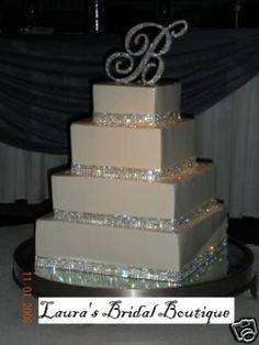 rhinestone and ribbon wedding cakes | Silver Rhinestone Crystal Wedding Cake Ribbon Bling for sale