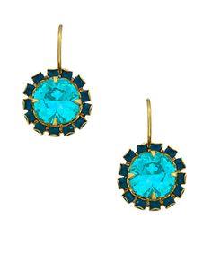 Liz Palacios Gold Caribbean Blue Opal and Turquoise Crystal Drop Earrings Blue Drop Earrings, Opal Jewelry, Turquoise Earrings, Crystal Earrings, Gold Earrings, Liz Palacios, Max And Chloe, Square Rings, Crystal Drop