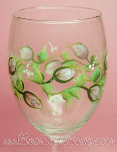 Shown on Bevel Stem Wine Glass with NO Glitter. Each wine glass is individually hand painted and may vary slightly from the pictures listed. And with personalizing (free), the glass becomes a real keepsake. Since it will be custom made just for you, let me know if you would like any changes. FYI, I typically add all personalizing on the back of the glass; if you prefer something else, let me know. Paint is heat set for durability and hand washing is recommended. Your glass will be nestled...