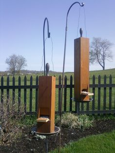 These birdhouses are made from an old organ pipe.