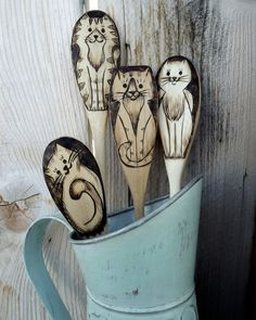 Wood burned Cat spoons by littlesisterscrafts on Etsy, $29.99