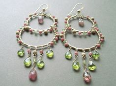 Pink Green Chandelier Earrings Peridot Hoops by BellaAnelaJewelry, $129.00