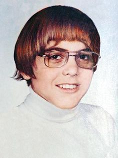 """George Clooney during his teen years ----- Clooney was taunted as a kid in his teens because he had Bell's Palsy, a medical problem which affects the face, paralyzing parts of it. Like the ugly duckling, Clooney was subject to verbal cruelty and in his own words describes that period as  """"the worst time of my life… """"You know how cruel kids can be. I was mocked and taunted, but the experience made me stronger."""" #celebrity"""