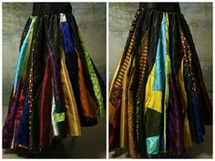 "*Draw string waist, will fit a waist of 20"" to 65"". *These skirts are made from scraps. Patterns and colors may vary. Colors will be similar to those pictured but WILL NOT be a an exact match."