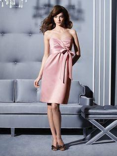 (NO.018739 )Sheath / Column Sweetheart  Belt Sleeveless Knee-length  Satin Pink Bridesmaid Dress / Cocktail Dress / Homecoming Dress