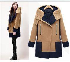 Beautiful Contrast Color-Block Lamb Hooded Thick Warm Wool Winter Coat M-5XL