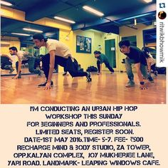 Hello Hello! If you are around this Sunday join in for a super fun dance workshop! #urbanhiphop #danceworkshop  #Repost @ritwikbhowmik with @repostapp.  Thank you for the fabulous response. Conducting another one. Register soon!  @aisharahmed @theanshumanmalhotra @iamshrikant9694 @rohan_shah_ @heli_daruwala @tatrip @kshitijvaishnav @tithi_v @vinodwaw @dhawal_tandon @priyaaa24 @anushka_bhatnagar @falonnetto @dance_station by aisharahmed