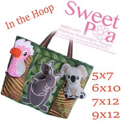 Australian animal bag 5x7 6x10 7x12 and 9x12 in the hoop machine embroidery designs