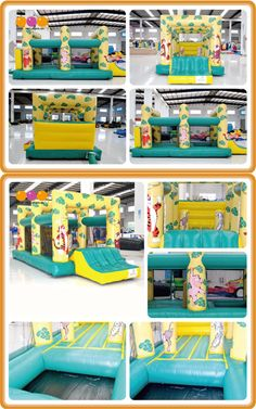 AQ401( 6*3*2.6m/ 19.69'* 9.84'* 8.53') An Inflatable Moonwalks with a cartoon design . We can design according to your need.For more information, you are welcome to inquire, we will be happy to serve you!