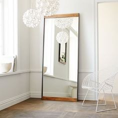 Small space illusion. Double your space, visually, by strategically placing floor mirror. Metal + Wood Floor Mirror #westelm