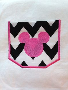 Chevron Mickey/minnie Pocket T-Shirt
