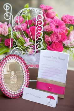 Pink carriage centerpieces