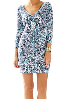 Lilly Pulitzer Juliet Printed Fitted V-Neck T-Shirt Dress in Ariel Blue Hippy Hippy Shake- easy throw on dress