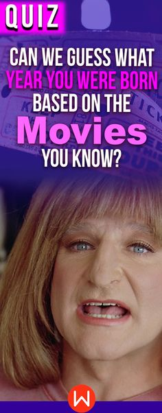 Take this fun quiz to see what age you are based on your movie knowledge! Are you a baby boomer, gen x or a millennial? We can guess your age based on your answers! Classic movies, Hollywood Golden age movies, new movies... personality quiz, fun quizzes, movie quizzes, about yourself quiz, movie personality test.