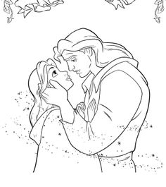 Princess Belle Romantic Moment With Prince Coloring Pages