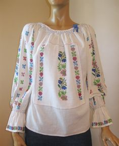 Romanian blouse hand beaded antique restored peasant wedding costume blouse M Peasant Skirt, Peasant Blouse, Embroidery Purse, Dark Blue Flowers, Ethnic Outfits, Wedding Costumes, Embroidered Blouse, Bell Sleeve Top, Tunic Tops