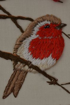 Ideas Robin Bird Embroidery For 2019 Hand Embroidery Projects, Christmas Embroidery, Crewel Embroidery, Hand Embroidery Patterns, Embroidery Kits, Cross Stitch Embroidery, Machine Embroidery, Diy Broderie, Embroidered Bird