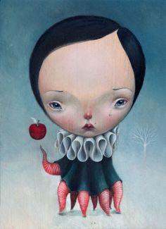 Enormes cabeças e rostos infantilizados e melancólicos nas pinturas surreais de Dilka Bear
