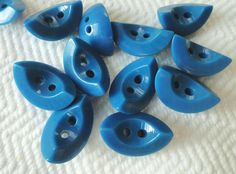 Indigo Slices Vintage Buttons  6 Mid Century Buttons by AddVintage, $4.00
