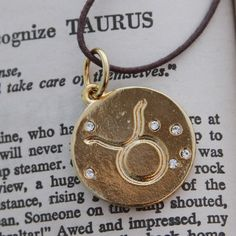 Taurus Zodiac Pendant Necklace Original Design 14k gold plated with crystals on Etsy, $22.00