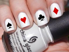 Set of 52 Poker Symbol Card Designs Vinyl Nail Decal Stickers (Multiple Colors Available) Heart Spade Diamond Club Ace King Queen Jack on Etsy, $4.99