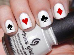 Satz von 52 Poker Symbol Karte Designs Vinyl Nagel Decal Sticker (mehrere Farben erhältlich) Herz Pik Diamond Club Ass König Dame Bube