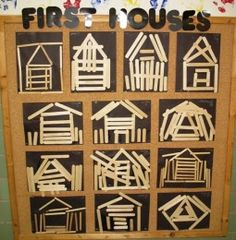 Stick houses--provide plain and colored sticks at your math/manipulatives table . - Stick houses–provide plain and colored sticks at your math/manipulatives table for the children t - Preschool Classroom, Preschool Activities, Preschool Family Theme, Creative Curriculum Preschool, Kindergarten Family Unit, Reggio Classroom, Group Activities, Reggio Emilia, Community Helpers Preschool