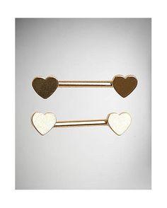 14 Gauge Gold Heart Nipple Barbells - Spencer's
