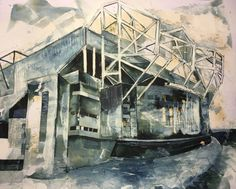 Manchester United, Quink and bleach, mix media on paper. Theatre of dreams, old Trafford. By Tom Quigley