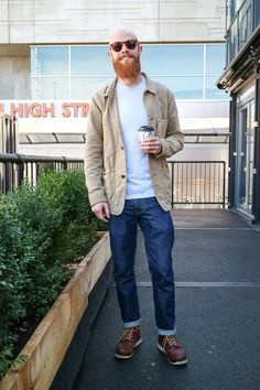 We spot Giorgio in London wearing Redwing boots and a beige worker jacket, complete with his red beard.
