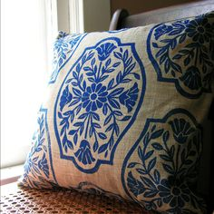 Navy Blue Chinoiserie Floral PIllow Case. $46.00, via Etsy.