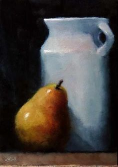 """Daily Paintworks - """"Pitcher and Pear"""" - Original Fine Art for Sale - © Bob Kimball"""