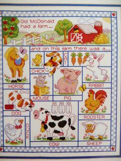 Old McDonalds Farm, counted cross stitch kit. Shows nursery rhyme and farm animals.  J & P Coats #23511 from 1992.  A large finished size: 12 x 14 inches Kit contains cotton floss, 14 count white Aida, thread holder, needle and complete instructions. Symbol chart is in color. Frame and matt not included. Complete kit, Package had a slit in the top, so I showed the contents for the pics and resealed. Complete and clean.  Convo me if questions. No returns. Thanks for viewing. I will have mo...