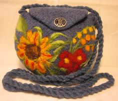 Ravelry: Agilejacks Denim Blue Felted Purse with Sunflower