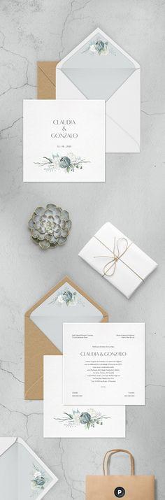 Invitaciones de boda - Justmine -   Wedding invitation  Winter style  Colores fríos  laparaphernalia.com