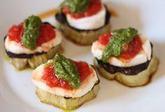 eggplant recipe with mozzarella, pesto, tomato sauce (substitute bruschetta?)