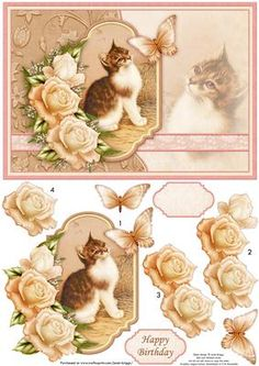 VINTAGE KITTEN BUTTERFLY Card Topper Decoupage on Craftsuprint designed by Janet Briggs - Cat themed card topper with 3d step by step decoupage.Features a vintage painting of kitten, with rose and butterfly decoupage.2 sentiment tags, one blank and Happy Birthday - Now available for download!