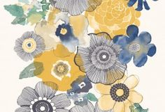 Galerie Boho Chic wallpaper is a blue and yellow, floral wallpaper. This textured wallpaper is part of Galerie's Boho Chic collection. Grey Floral Wallpaper, Chic Wallpaper, Kitchen Wallpaper, Home Wallpaper, Flower Wallpaper, Galerie Wallpaper, Wallpaper Iphone Neon, Boho Aesthetic, One Step