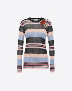 VALENTINO Contrasting applications Lightweight knitted Multicolour Pattern Round collar Long sleeves  37970058hn