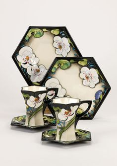 Moorcroft Cafe Au Lait Pair of Side Plates Cups and Saucers
